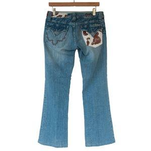 Miss Me Cow Hide Print Bootcut Jeans Women's 29